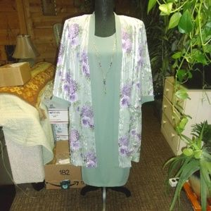 R & M Richards 3/4 Sleeve Jacket Dress W/ Necklace